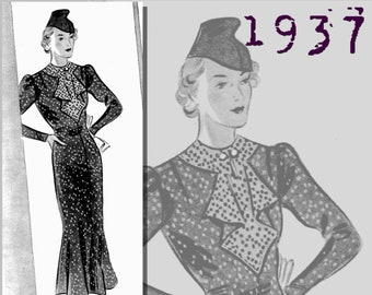 Afternoon Dress in two styles (47in/120cm bust) - 1930's - Vintage Reproduction PDF Pattern - made from original 1937 Pattern