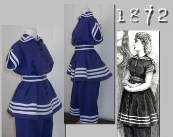 Bathing Suit -  Victorian Reproduction PDF Pattern - 1870's - made from original 1872 pattern