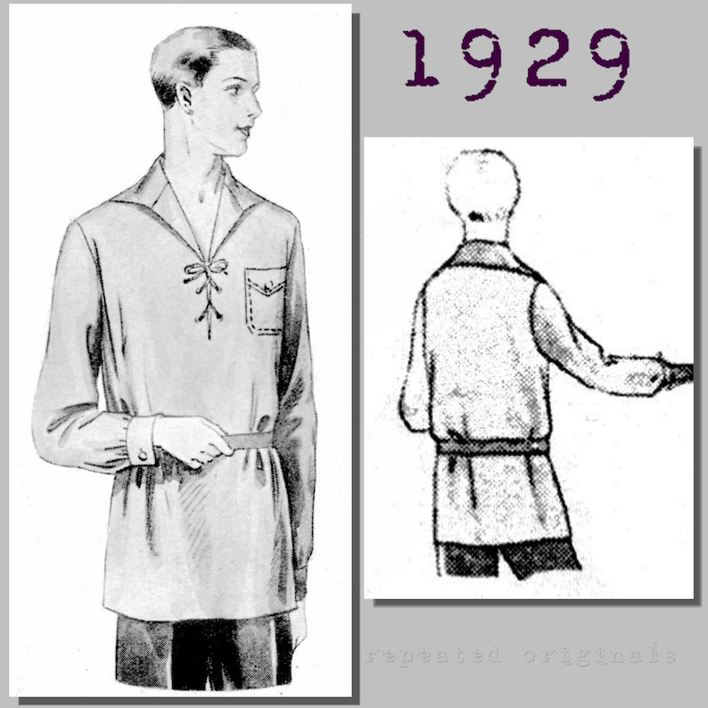 1930s Sewing Patterns- Dresses, Pants, Tops Mens Casual Outdoors Shirt - Vintage Reproduction PDF Pattern - 1920s - made from original 1929 pattern - Chest 104cm $12.00 AT vintagedancer.com