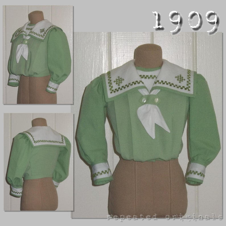 Edwardian Blouses |  Lace Blouses, Sweaters, Vests 1909 Blouses - Edwardian Reproduction PDF Pattern - 1900s - made from original 1909 pattern $7.71 AT vintagedancer.com