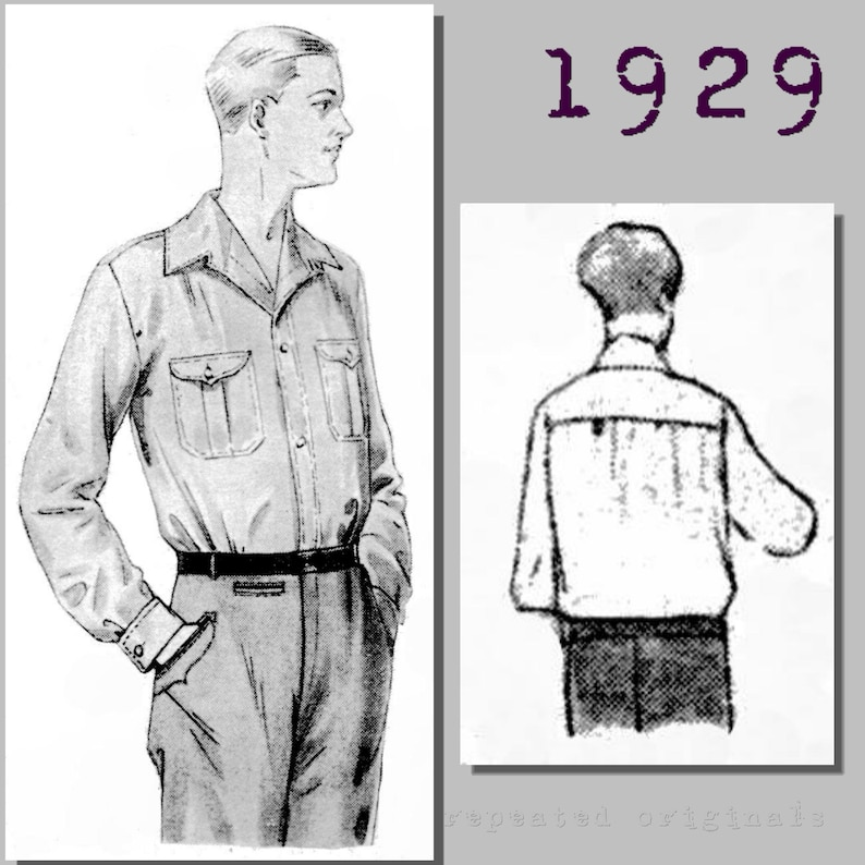 1920s Patterns – Vintage, Reproduction Sewing Patterns 1929 Mens Casual Outdoors Shirt - Vintage Reproduction PDF Pattern - 1920s - made from original 1929 pattern - Chest 112cm $10.87 AT vintagedancer.com