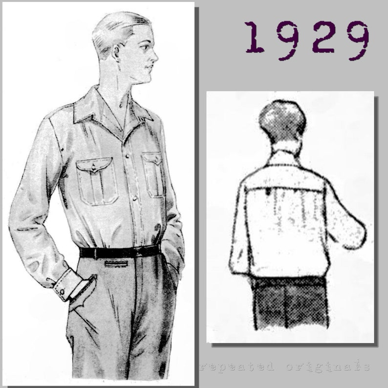 Men's Vintage Reproduction Sewing Patterns 1929 Mens Casual Outdoors Shirt - Vintage Reproduction PDF Pattern - 1920s - made from original 1929 pattern - Chest 112cm $10.87 AT vintagedancer.com