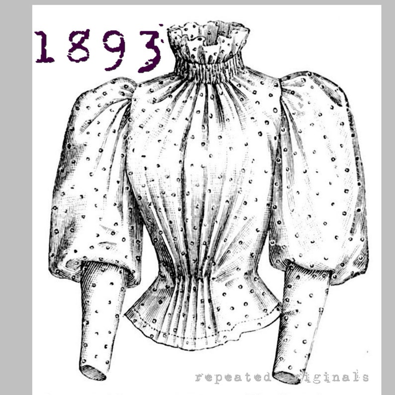 Victorian Kids Costumes & Shoes- Girls, Boys, Baby, Toddler Blouse for 14 to 16 year old girl - Victorian Reproduction PDF Pattern - 1890s - made from original 1893 La Mode Illustrée pattern $8.04 AT vintagedancer.com