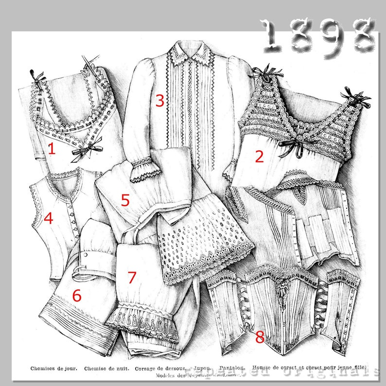 Victorian Dresses, Clothing: Patterns, Costumes, Custom Dresses 1898 Chemises Nightshirt Corset Cover Petticoat Drawers and Corset - Vintage Reproduction PDF Pattern- 1890s- made from original 1898 Pattern $11.56 AT vintagedancer.com
