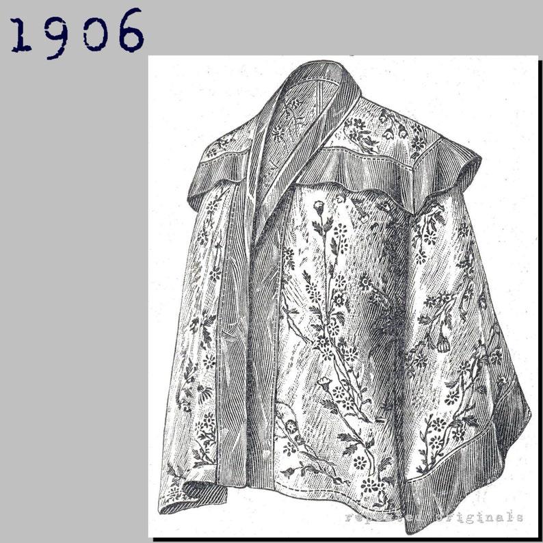 Titanic Fashion – 1st Class Women's Clothing Kimono styled Matinee Jacket - Edwardian Reproduction PDF Pattern - 1900s - made from original 1906 La Mode Illustree pattern $8.04 AT vintagedancer.com