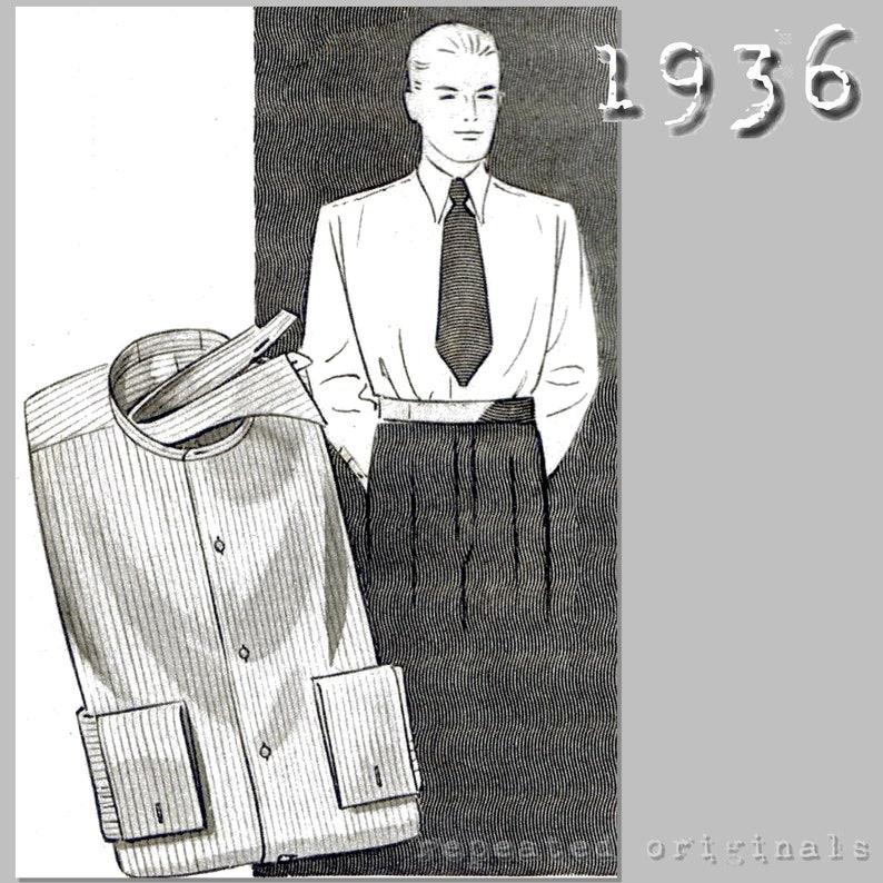 Men's Vintage Reproduction Sewing Patterns Mens Button Front Shirt - Detachable Collar- Chest 96cm/37.5