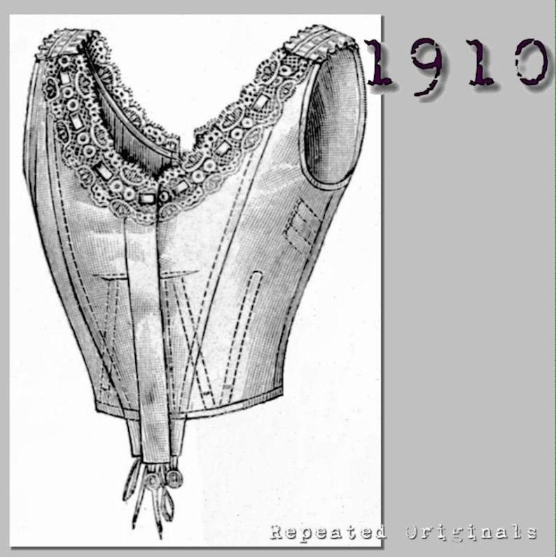 Titanic Fashion – 1st Class Women's Clothing Boned Corset Cover - 96cm bust - Vintage Reproduction PDF Pattern - 1910s - made from original 1910 La Mode Illustree Pattern $6.09 AT vintagedancer.com