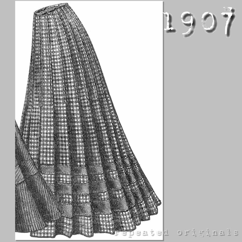 Edwardian Sewing Patterns- Dresses, Skirts, Blouses, Costumes 1907 Ladies skirt - 64cm waist - Edwardian Reproduction PDF Sewing Pattern - 1900s - made from original 1907 pattern $7.71 AT vintagedancer.com