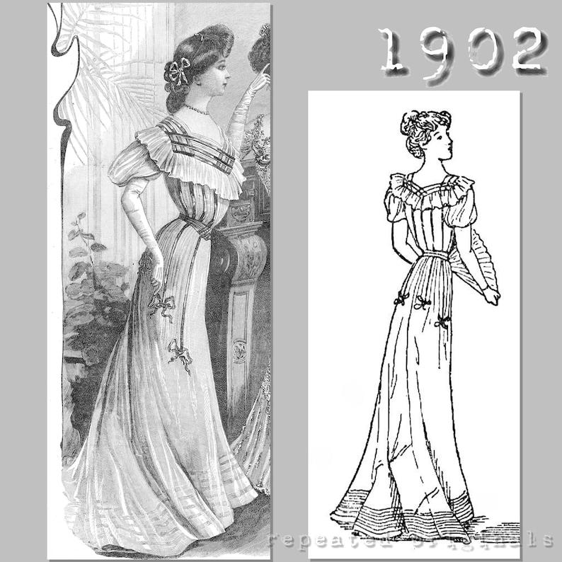 Edwardian Sewing Patterns- Dresses, Skirts, Blouses, Costumes 1902 Ball Gown - Edwardian Reproduction PDF Pattern - 1900s - made from original 1902 La Mode Illustrée pattern $14.26 AT vintagedancer.com