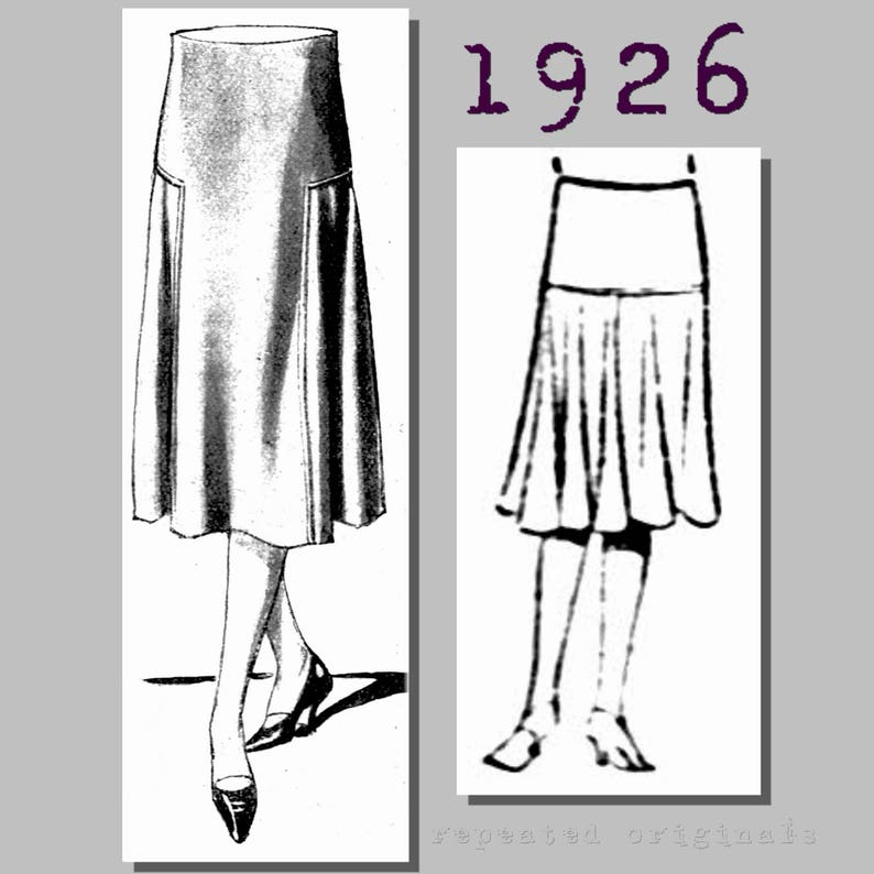 1920s Patterns – Vintage, Reproduction Sewing Patterns Ladys Yoked Skirt - Vintage Reproduction PDF Pattern - 1920s - made from original 1926 pattern - 35 inch waist $6.05 AT vintagedancer.com
