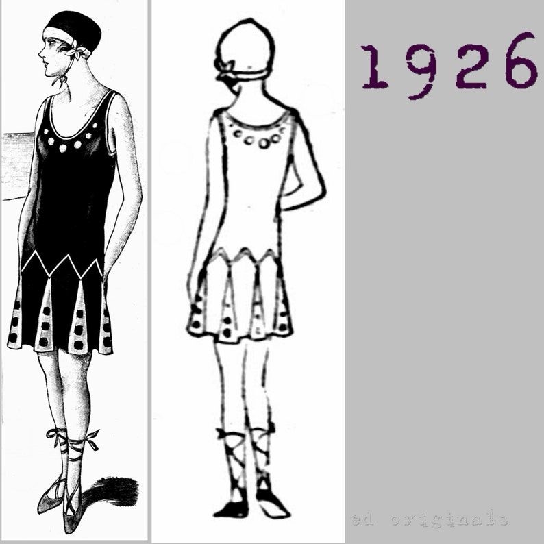 Vintage Bathing Suits | Retro Swimwear | Vintage Swimsuits Ladys 2 Piece Swimming Costume Bathers Cossie. Togs - Vintage Reproduction PDF Pattern - 1920s - made from original 1926 pattern $12.06 AT vintagedancer.com