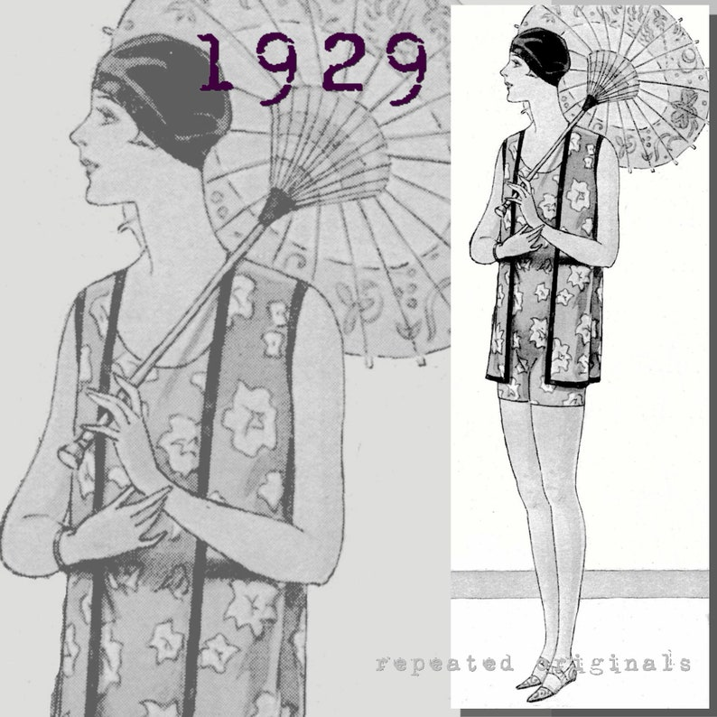 Vintage Bathing Suits | Retro Swimwear | Vintage Swimsuits Ladys One Piece Bathing Suit and sleeveless jacket - Bust 90cm -Vintage Reproduction PDF Pattern - 1920s - made from original 1929 pattern $8.81 AT vintagedancer.com