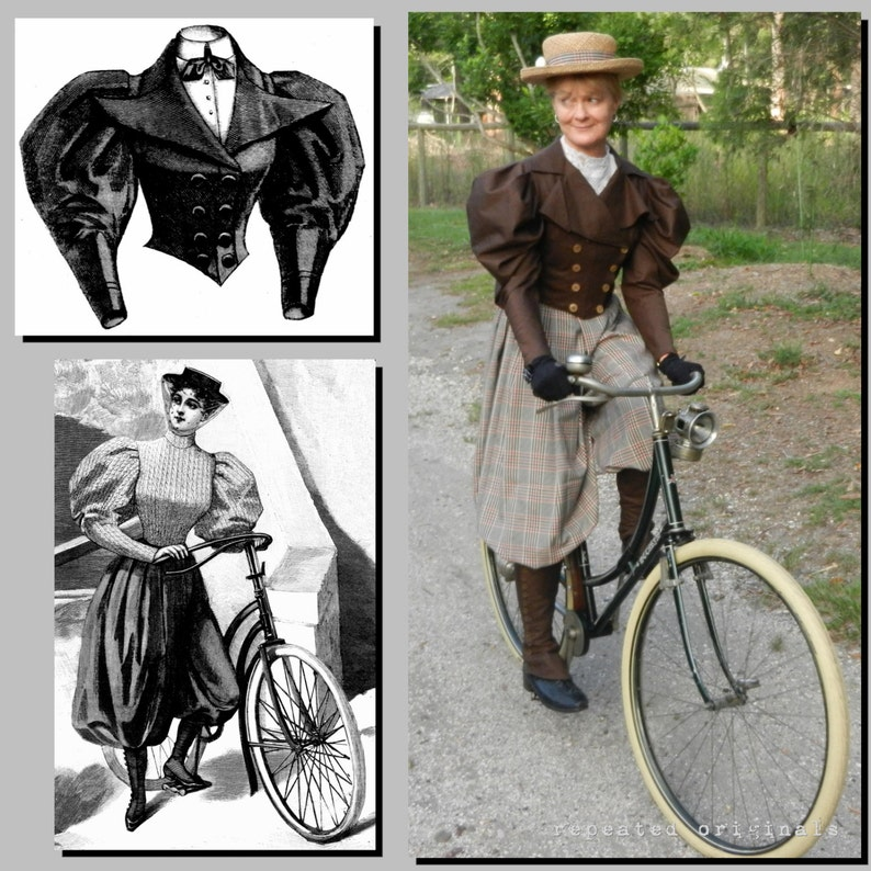 Steampunk Sewing Patterns- Dresses, Coats, Plus Sizes, Men's Patterns Bicycle Outfit - Victorian Reproduction PDF Pattern - 1890s - 36