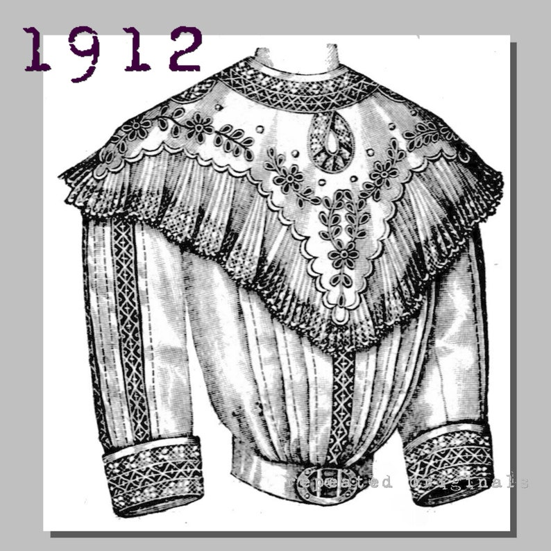 Edwardian Blouses |  Lace Blouses, Sweaters, Vests Blouse with yoke collar - Bust 96cm - Vintage Reproduction PDF Pattern - 1910s - made from original 1912 La Mode Illustree Pattern $8.12 AT vintagedancer.com