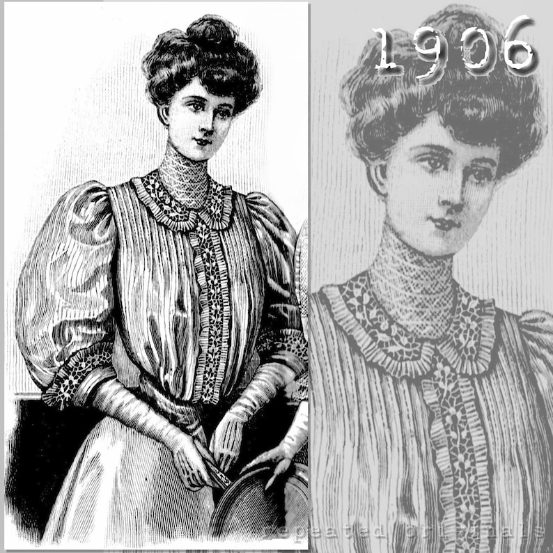 Titanic Fashion – 1st Class Women's Clothing Silk Blouse - Edwardian Reproduction PDF Pattern - 1900s - made from original 1906 pattern $6.03 AT vintagedancer.com