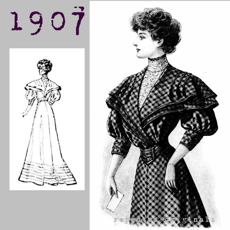 Edwardian Sewing Patterns- Dresses, Skirts, Blouses, Costumes 1907 Ladies checked woollen dress - Edwardian Reproduction PDF Pattern - 1900s - made from original 1907 pattern $11.56 AT vintagedancer.com