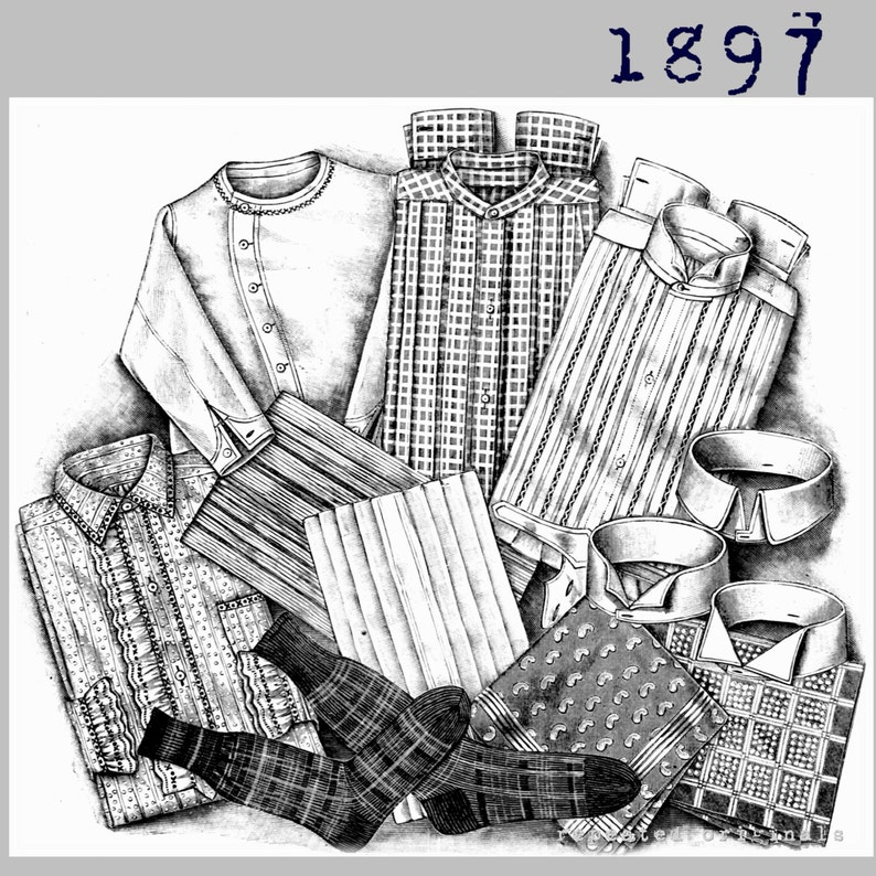 Victorian Sewing Patterns- Dress, Blouse, Hat, Coat, Men's Mens Shirts Shirt Fronts and Collars - Victorian Reproduction PDF Pattern - 1890s - made from original 1897 La Mode Illustree pattern $12.10 AT vintagedancer.com