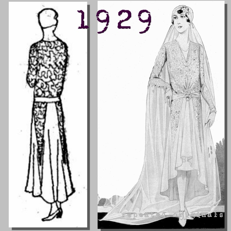 1920s Patterns – Vintage, Reproduction Sewing Patterns Wedding Dress (102cm/40