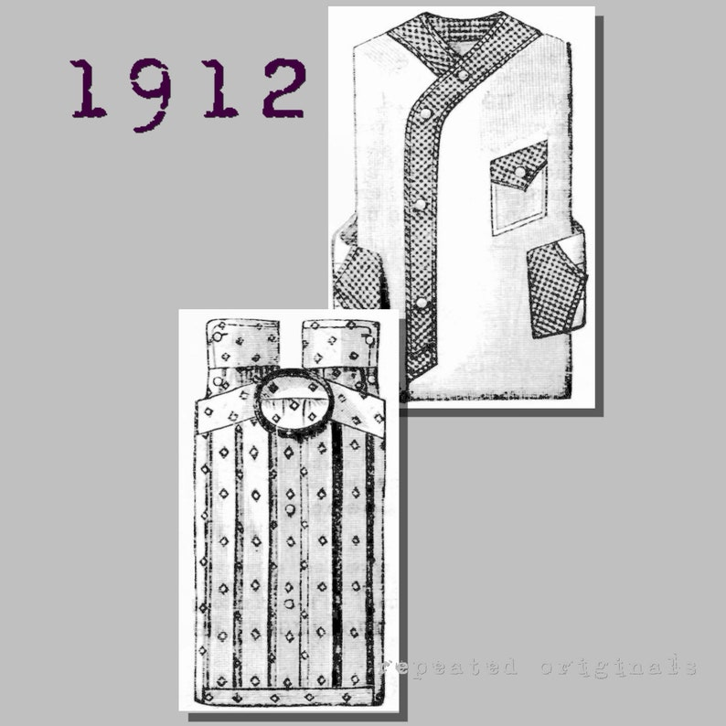 Men's Vintage Reproduction Sewing Patterns Mens Day and Night Shirts - Collar 40cm - Vintage Reproduction PDF Pattern - 1910s - made from original 1912 La Mode Illustree Pattern $10.08 AT vintagedancer.com