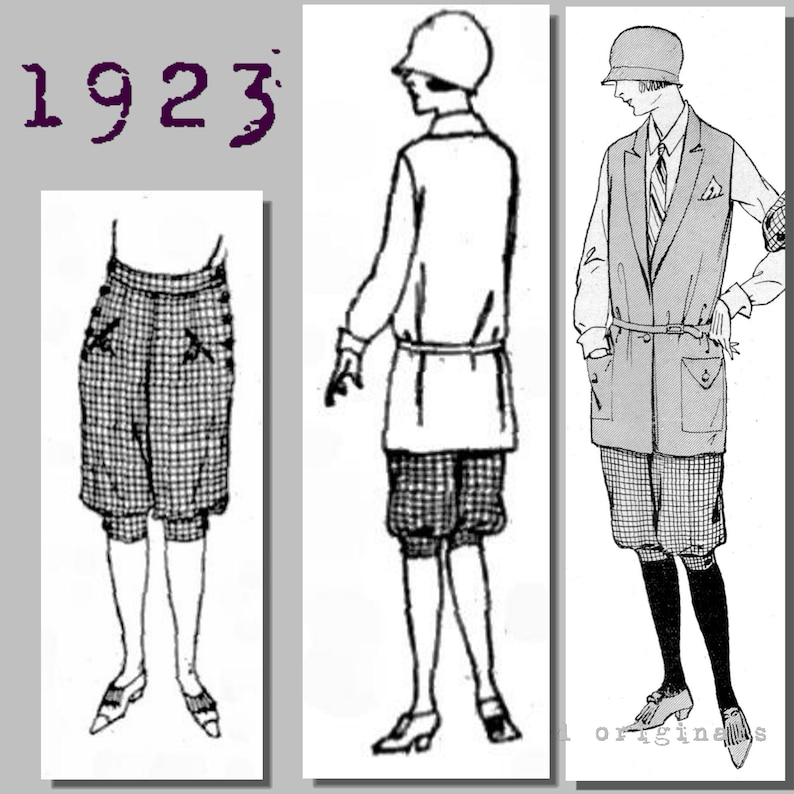 1920s Patterns – Vintage, Reproduction Sewing Patterns Ladys Sports Costume - Vintage Reproduction PDF Pattern - 1920s - made from original 1923 pattern - Bust 96cm/37