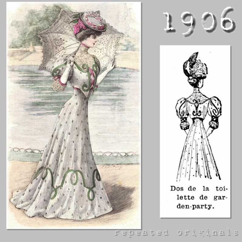 Titanic Fashion – 1st Class Women's Clothing Garden Party Dress with Corselet Skirt - Edwardian Reproduction PDF Pattern - 1900s - made from original 1906 pattern $14.88 AT vintagedancer.com