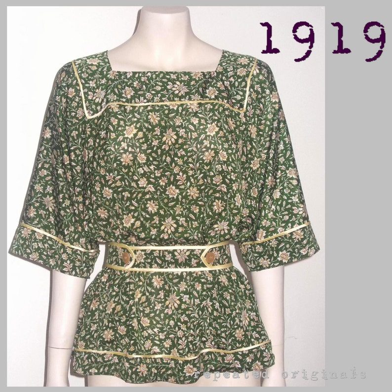 Edwardian Sewing Patterns- Dresses, Skirts, Blouses, Costumes 1919 Tunic Blouse $7.24 AT vintagedancer.com