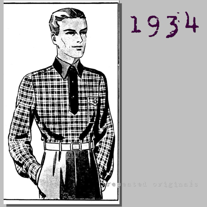 1930s Sewing Patterns- Dresses, Pants, Tops Mens long sleeve Polo Shirt - Chest: 96cm/37