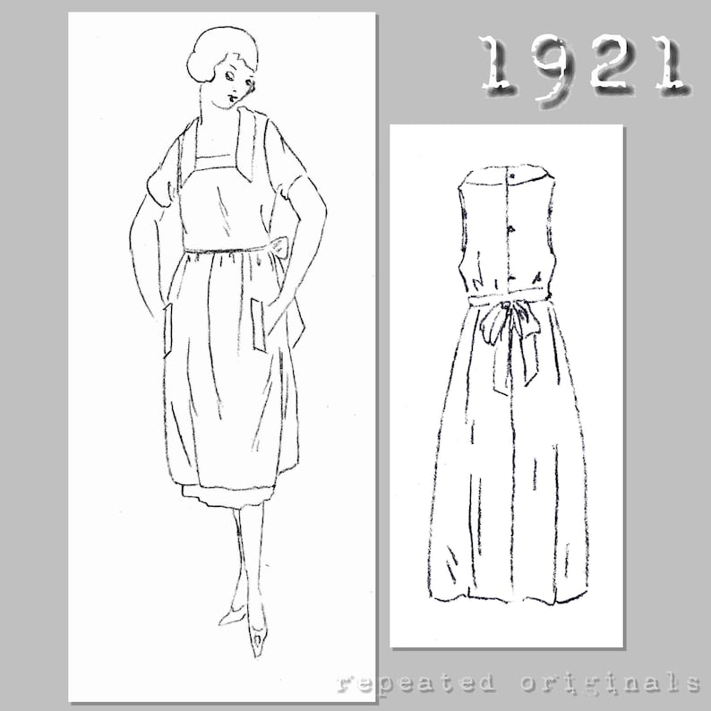 10 Things to Do with Vintage Aprons Ladies Apron with pockets (90cm bust) - Vintage Reproduction PDF Pattern - 1920s - made from original 1921 pattern $6.09 AT vintagedancer.com
