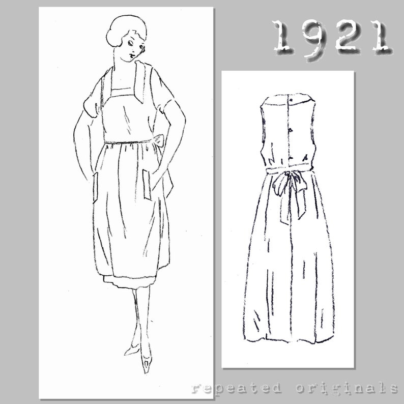 1950s House Dresses and Aprons History Ladies Apron with pockets (90cm bust) - Vintage Reproduction PDF Pattern - 1920s - made from original 1921 pattern $6.09 AT vintagedancer.com