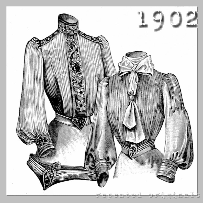 Edwardian Blouses |  Lace Blouses, Sweaters, Vests 1902 Blouses - Edwardian Reproduction PDF Pattern - 1900s - made from original 1902 La Mode Illustrée pattern $9.63 AT vintagedancer.com
