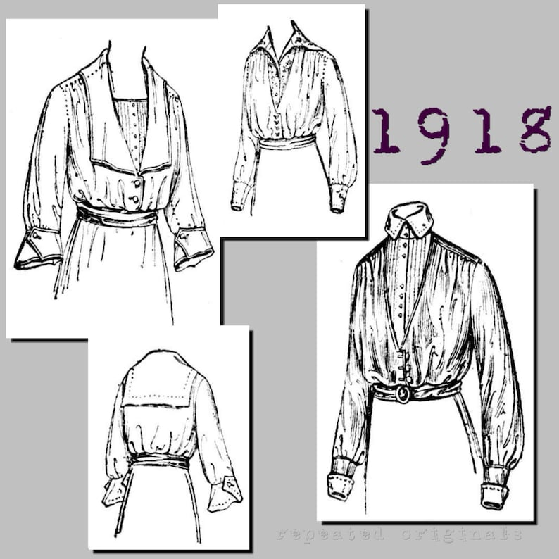 Edwardian Sewing Patterns- Dresses, Skirts, Blouses, Costumes 1918 Ladies Blouse (with neckline and sleeve variations) - 38