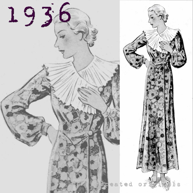 1930s Sewing Patterns- Dresses, Pants, Tops Boudoir Robe Dressing Gown (Bust 96cm/38