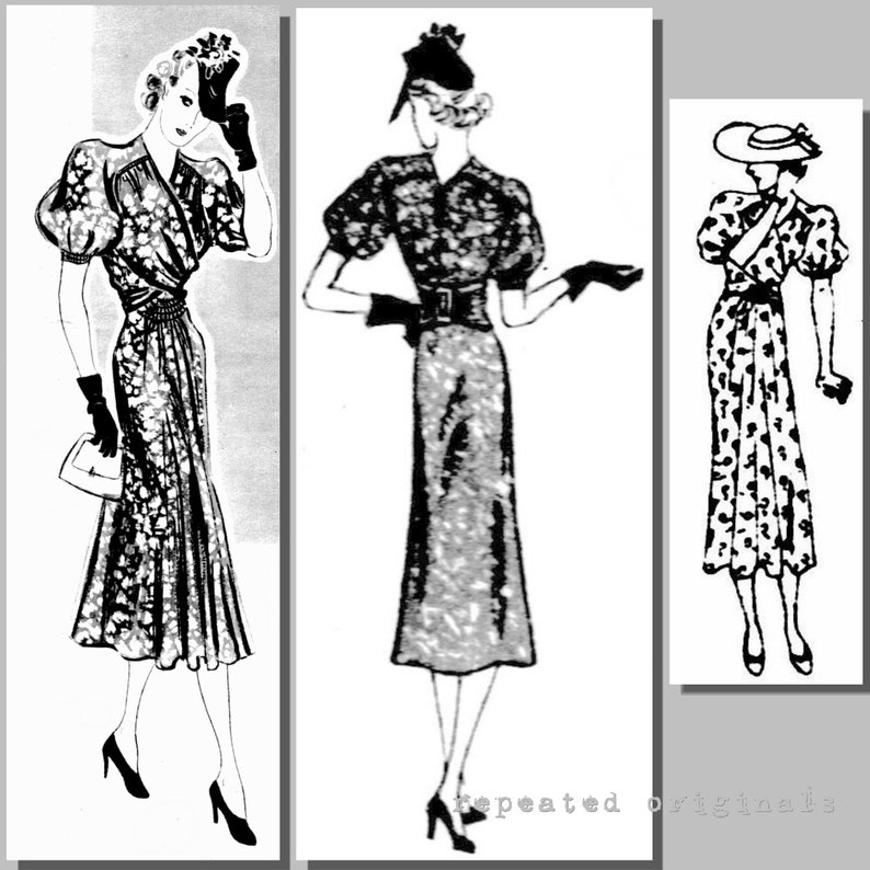 1930s Sewing Patterns- Dresses, Pants, Tops Summer Dress - Bust: 96cm - 37