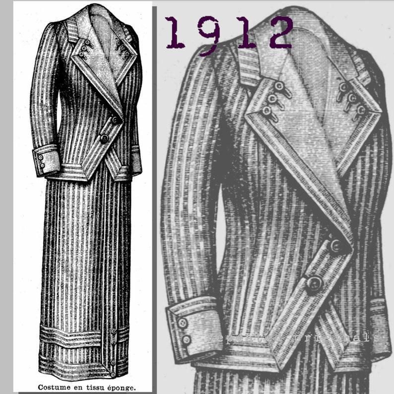 Titanic Fashion – 1st Class Women's Clothing Suit - Bust 90cm - Vintage Reproduction PDF Pattern - 1910s - made from original 1912 La Mode Illustree Pattern $12.18 AT vintagedancer.com