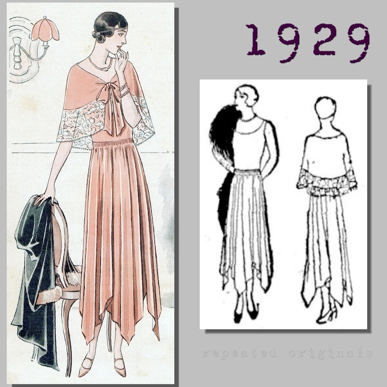 1930s Sewing Patterns- Dresses, Pants, Tops Ladys Evening Dress with removable cape - Bust 90cm -Vintage Reproduction PDF Pattern - 1920s - made from original 1929 pattern $10.15 AT vintagedancer.com