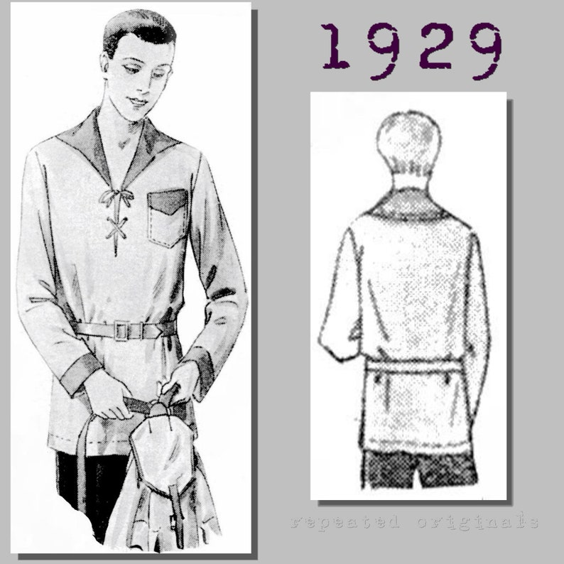 Men's Vintage Reproduction Sewing Patterns 1929 Casual Outdoors Shirt - Vintage Reproduction PDF Pattern - 1920s - made from original 1929 pattern - Chest 120cm $10.87 AT vintagedancer.com