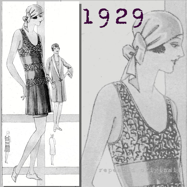 Vintage Bathing Suits | Retro Swimwear | Vintage Swimsuits Ladys Bathing Suit with matching Beach Robe - Bust 102cm -Vintage Reproduction PDF Pattern - 1920s - made from original 1929 pattern $10.08 AT vintagedancer.com