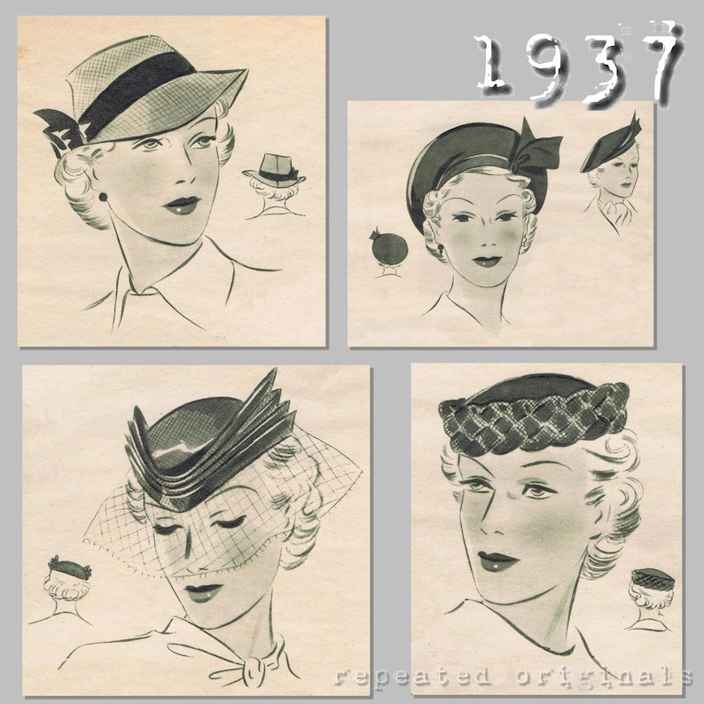 1930s Style Hats   Buy 30s Ladies Hats 4 Hat Patterns - 1930s - Vintage Reproduction PDF Pattern - made from original 1937 Pattern $9.63 AT vintagedancer.com