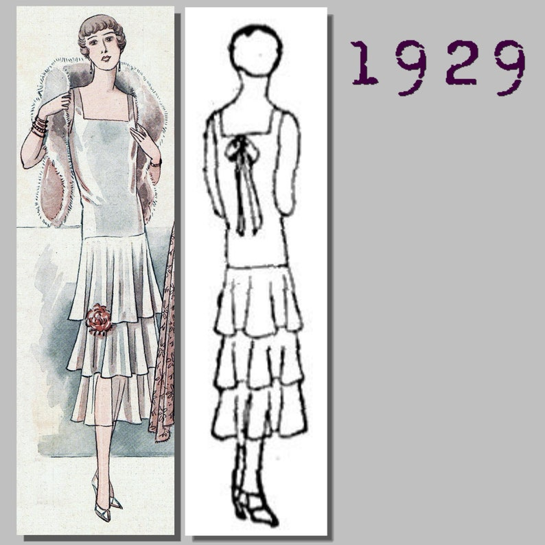 1920s Patterns – Vintage, Reproduction Sewing Patterns Ladys Flounced Evening Dress - Bust 96cm -Vintage Reproduction PDF Pattern - 1920s - made from original 1929 pattern $10.15 AT vintagedancer.com