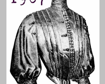 Blouse for an older lady -  Edwardian Reproduction PDF Pattern - 1900's - made from original 1907 pattern