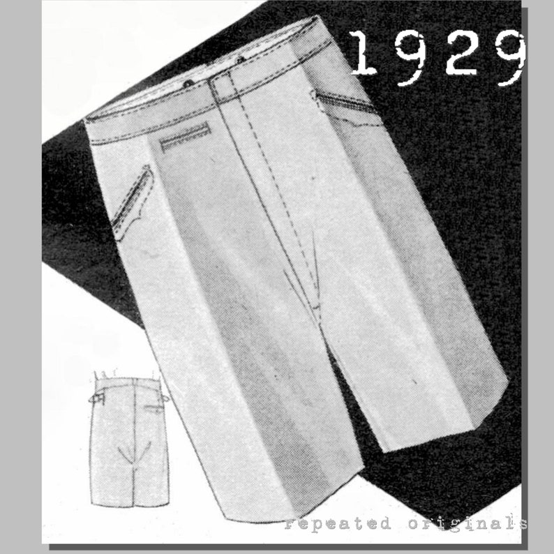 Men's Vintage Reproduction Sewing Patterns 1929 Mens casual short Trousers - Vintage Reproduction PDF Pattern - 1920s - made from original 1929 pattern - Waist 110cm $9.05 AT vintagedancer.com