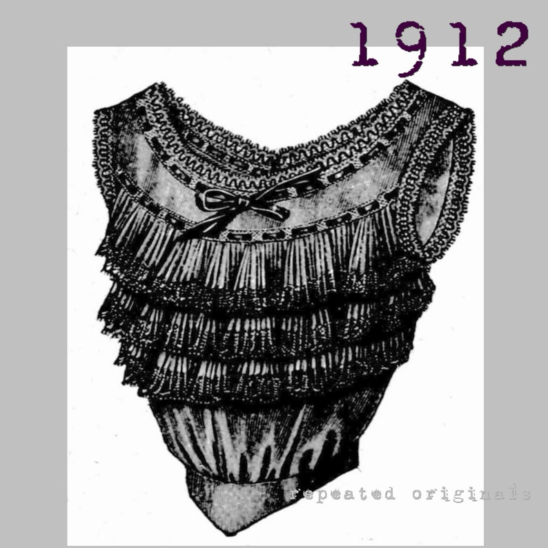 Edwardian Sewing Patterns- Dresses, Skirts, Blouses, Costumes Corset Cover with Bust Improver - Bust 96cm - Vintage Reproduction PDF Pattern - 1910s - made from original 1912 La Mode Illustree Pattern $6.09 AT vintagedancer.com