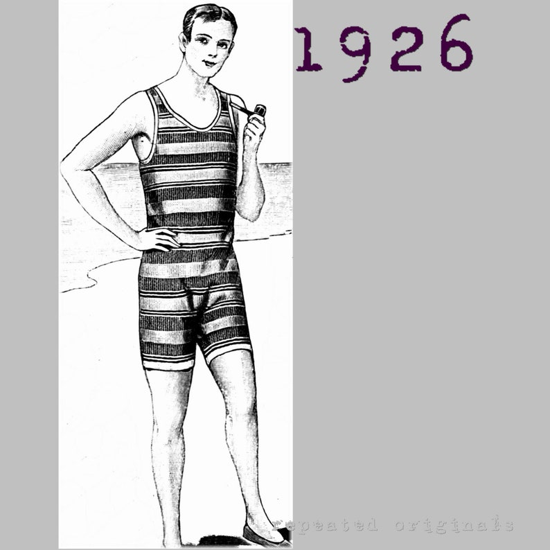 1920s Swimsuits- Women & Mens- History, Sew and Shop Gentlemans Swimming Costume Bathers Neck to Knee Cossie - Vintage Reproduction PDF Pattern - 1920s - made from original 1926 pattern $13.34 AT vintagedancer.com