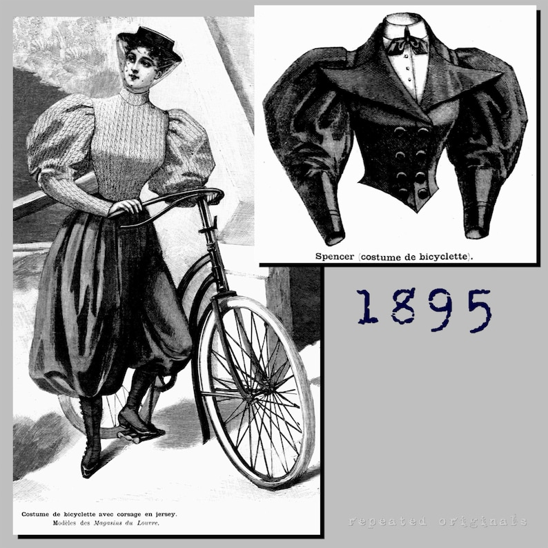 Edwardian Sewing Patterns- Dresses, Skirts, Blouses, Costumes Bicycle Outfit - Victorian Reproduction PDF Pattern - 1890s - 36