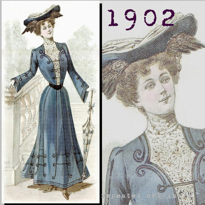 Edwardian Sewing Patterns- Dresses, Skirts, Blouses, Costumes 1902 Simple Dress with round skirt - Edwardian Reproduction PDF Pattern - 1900s - made from original 1902 La Mode Illustree pattern $11.56 AT vintagedancer.com