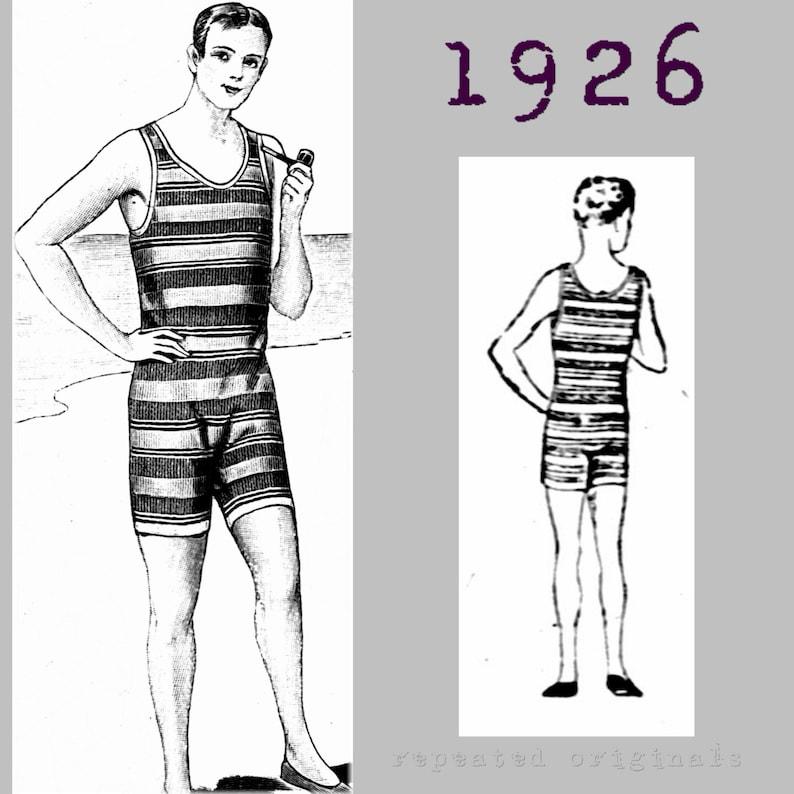 Men's Vintage Reproduction Sewing Patterns Gentlemans Swimming Costume Bathers Neck to Knee Cossie - Vintage Reproduction PDF Pattern - 1920s - made from original 1926 pattern $12.10 AT vintagedancer.com