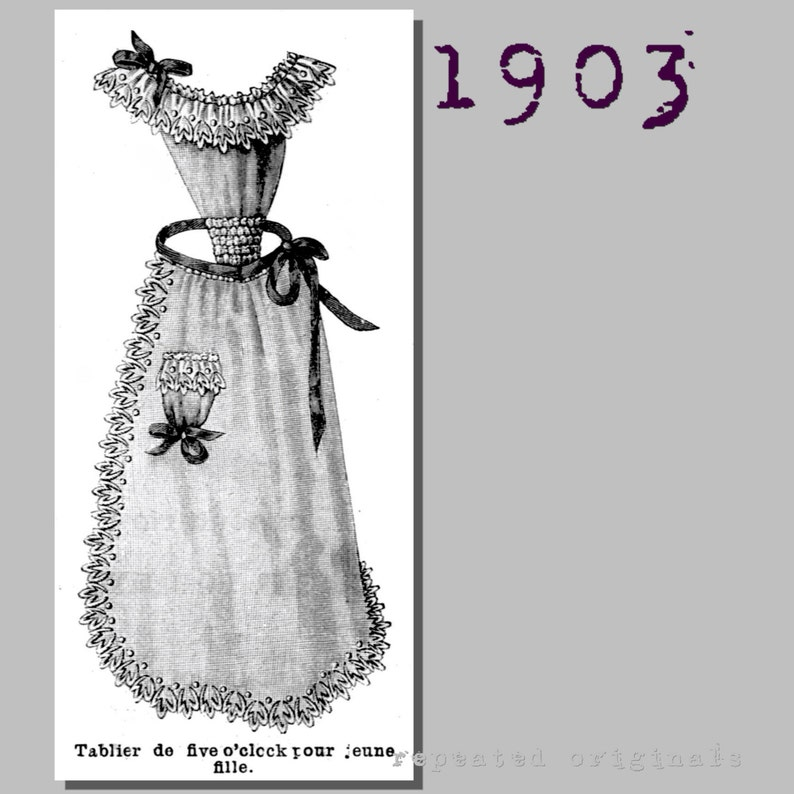 Vintage Aprons, Retro Aprons, Old Fashioned Aprons & Patterns 1903 Apron - Edwardian Reproduction PDF Pattern - 1900s - made from original 1903 La Mode Illustree pattern $7.38 AT vintagedancer.com