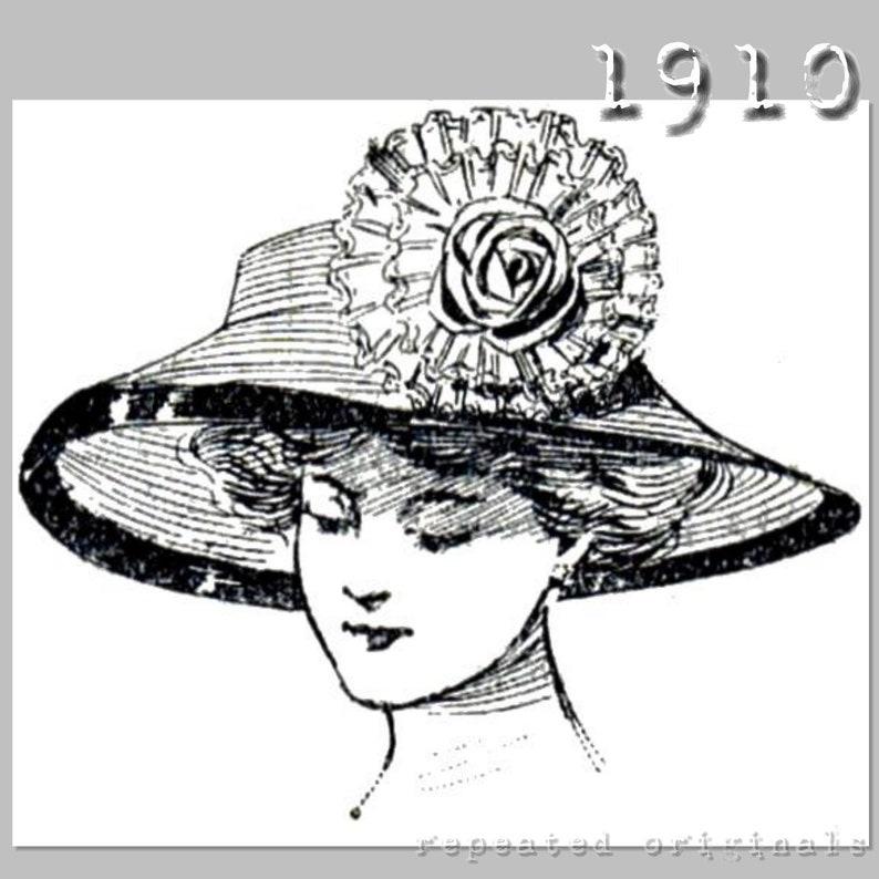 Edwardian Hats, Titanic Hats, Tea Party Hats Large brim buckram hat pattern - Vintage Reproduction PDF Pattern - 1910s - made from original 1910 La Mode Illustree Pattern $3.08 AT vintagedancer.com