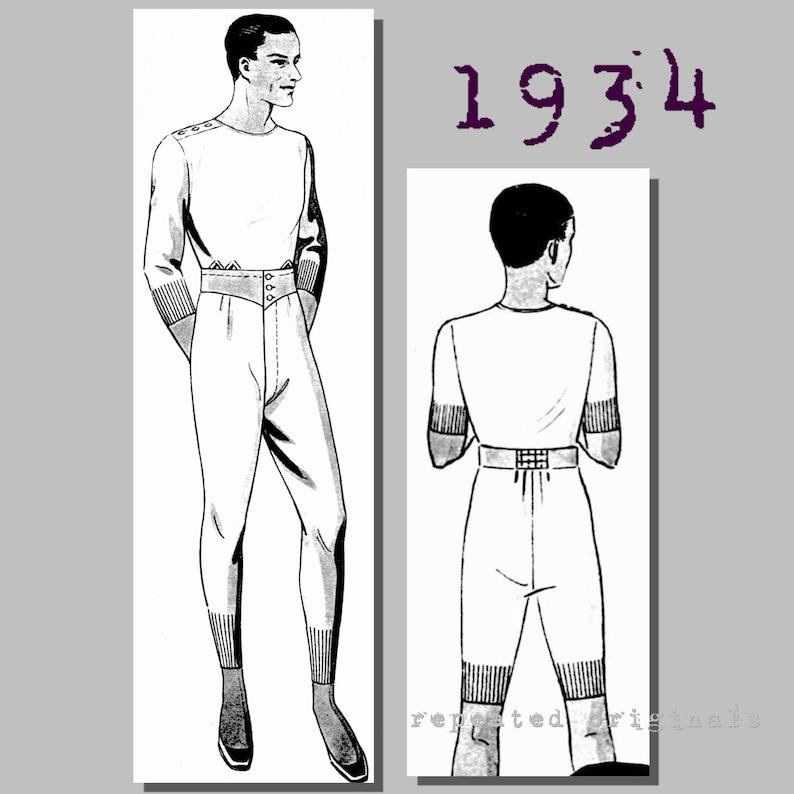 1940s Sewing Patterns – Dresses, Overalls, Lingerie etc Mens short or long undergarments - Chest: 90cm/35.5