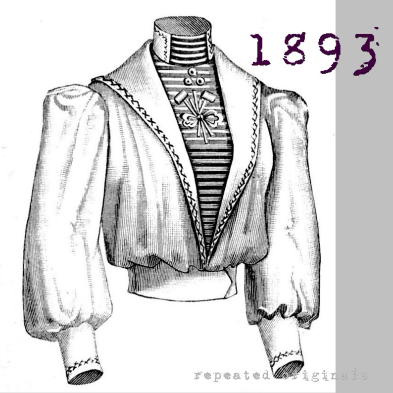 Steampunk Sewing Patterns- Dresses, Coats, Plus Sizes, Men's Patterns Miss Helyett Blouse - Victorian Reproduction PDF Pattern - 1890s - made from original 1893 La Mode Illustrée pattern $10.15 AT vintagedancer.com